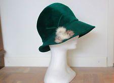 1920 войлок и мех зеленый Cloche Hat – Шварц режимы Swiss клош