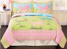 Pink & Green Pony Bedding Twin Full/Queen Little Girls Bedspread Quilt Sets