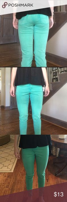 AEO Green / Teal Jeans tealish green jeans!! bought at tj maxx, never wore these bc they're too big:) American Eagle Outfitters Pants Skinny