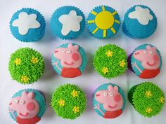 Peppa pig cupcakes by The Cupcake Fairy, via Flickr