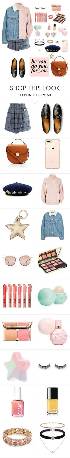"""lovely"" by phoebeyu13 ❤ liked on Polyvore featuring Chicwish, Gucci, Hat Attack, Aspinal of London, Fendi, Too Faced Cosmetics, Eos, Battington, Essie and Chanel"
