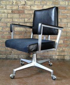 Bon Vintage ASE All Steel Metal Desk Office Swivel Arm Chair Mid Century Modern  | EBay