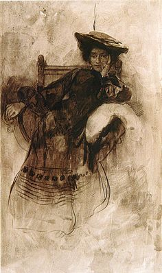 Study of a Woman Sitting in an Armchair - Alphonse Mucha