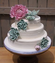 Buttercream icing, succulents and gumpaste peonies for a lovely little wedding cake.