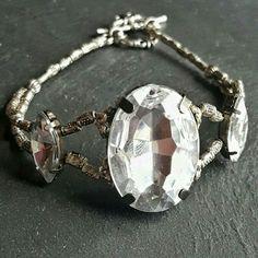 Rhinestone Bracelet - Cocktail Bracelet - Feminine Bracelet - Pageant Jewelry - Bridal Jewelry - Ren Faire - Renaissance Jewelry - Gift
