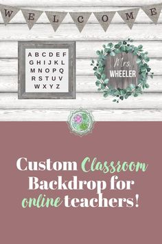 Customize your own online teaching backdrop! This beautiful farmhouse decor is printed on high quality vinyl with grommets for easy hanging! Science Classroom Decorations, Classroom Ideas, Classroom Background, Online Classroom, Rustic Background, Vinyl Backdrops, Vinyl Banners, Teacher, Printed
