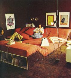 "Retro 1982 lounge living room with pillowed platform floor sofa & built-in storage from ""The Home Book"" by Terence Conran."