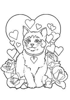 Poes rozen hartjes kleurplaat