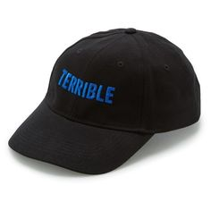 Terrible Records 'Terrible' Snapback Cap (99 RON) ❤ liked on Polyvore featuring accessories, hats, cap snapback, cap hats, embroidered caps, curved brim hats and curved brim snapback