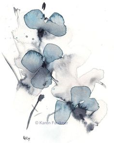 Loving this free-flowing watercolor art print by Karen Faulkner. Simple but dreamy and beautiful, with a lovely shade of indigo.