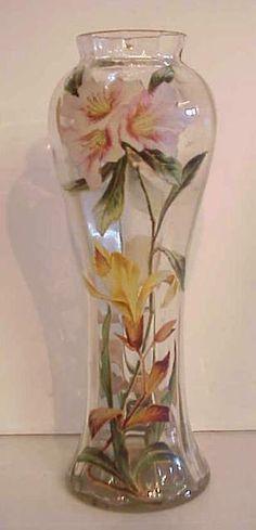 Moser glass floral enamel art glass vase, 10 1/4