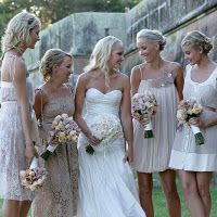 Bridesmaid dress inspiration. Beige or 'champagne', each bridesmaid can pick her own style.