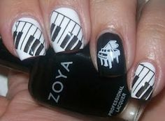 shweshwe dresses 2017 and the latest nail art Music Note Nails, Music Nail Art, Music Nails, Fancy Nails, Love Nails, Pretty Nails, My Nails, Piano Nails, Black And White Nail Art