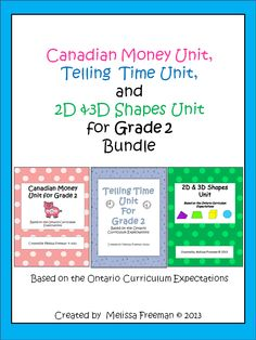 Three great math units based on the Ontario Curriculum for Grade 2!  Save $4.00 when you purchase all three units in this money saving bundle!