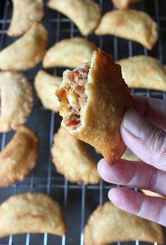 Spicy Sardine Corn Empanadas - dropping salty fish fish rolled into Rick Bayless dough boys.