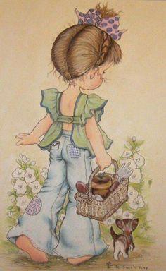 Immagini Sara Kay e Holly Hobbie Sarah Key, Holly Hobbie, Papier Kind, Foto Poster, Digi Stamps, Cute Illustration, Garden Illustration, Vintage Cards, Cute Drawings