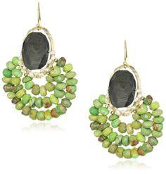 "Amazon.com: Eva Hanusova ""Bohemian Fest"" Black Labradorite Green Turquoise Festive Earrings: Jewelry"