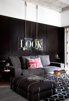 grey couch, nice with black & white
