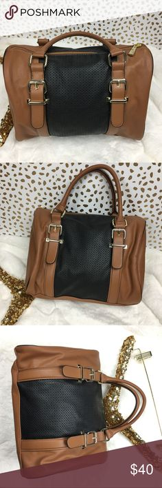 NWOT Express Medium Satchel Purse Perfect condition! Very versatile. Rich caramel color with black mesh panel and gold hardware. Faux leather but you couldn't tell because this bag is so soft. Express Bags Satchels