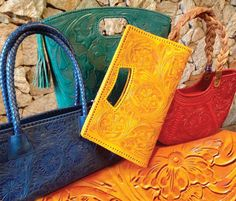 New shipment just in – gorgeous handmade leather purses from Mexico. Clutches, shoppers, shoulder, and cross-body bags, plus wallets! The newest colors, including silver and gold metallics.