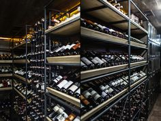 The wine room is surrounded with floor-to-ceiling reinforced mesh shelves hidden behind expanded metal lathing, where collections of exclusive wine and cognac will be displayed.