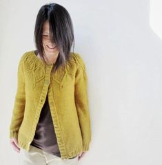 Cardigan knitted from top down, seamless, in one piece, with leaves and cables…