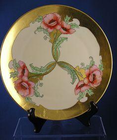 """Thomas Bavaria Art Nouveau Poppy Motif Plate (Signed """"S. Hilmer""""/c.1908-1920)"""