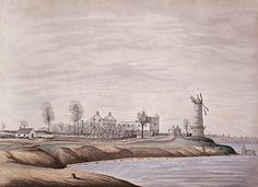 Another watercolor by Henry Francis Ainslie, showing the desolation of Newport after the Battle of the Windmill. British North America, War Of 1812, Colonial Architecture, Windmill, Newport, Novels, Canada, History, Historia