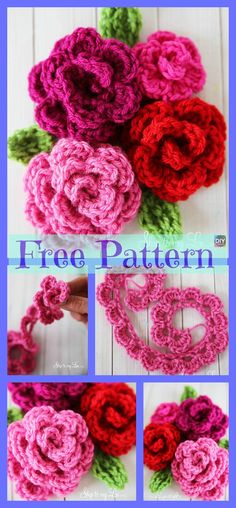 Crochet Rose Flowers – Free Patterns These crochet rose flowers are decorative, pretty, and are easy to make for some designs. They will add a great touch to your household decoration! So choo Diy Crochet Rose, Crochet Puff Flower, Crochet Bows, Crochet Flower Tutorial, Crochet Unicorn, Crochet Flower Patterns, Crochet Gifts, Crochet Motif, Crochet Designs