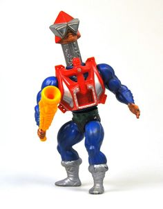 "Action figure for Mekanek, a heroic warrior spy with a bionic neck, from the ""Masters of the Universe"" line of toys"