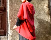 NEW Autumn / Winter Bright Maroon  Cashmere / Wool / Extravagant Poncho / Wool Blend Oversizes Coat  by Aakasha A01160