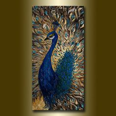 Original Peacock Oil Painting Textured Palette Knife by willsonart