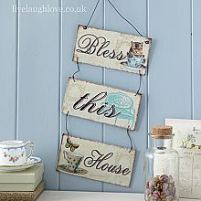 Triple Metal Hanging Sign-Bless this home...