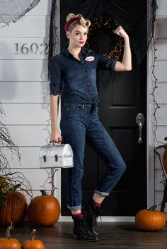 "You can do it! With liberty rolls and the right attitude, you can build an iconic (and empowering) costume for Halloween. Add a swipe of red lipstick, a vintage metal lunchbox and a ""Rosie"" name tag for authenticity. Featured product includes: SONOMA Goods for Life chambray shirt, LC Lauren Conrad jeans, and Mudd black boots. Get your Halloween haunt on at Kohl's."