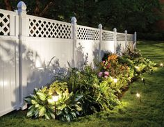 6' x 6' Lattice Top White Vinyl Fence >> Like the plants in front. To keep out nosey neighbors...love it   Could be good for fence line along driveway replacing pine trees