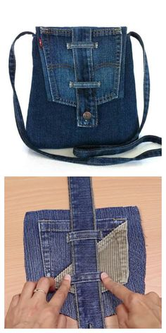 Diy Denim Purse, Denim Bag, Sewing Patterns Free, Free Sewing, Bag Patterns, Leather Clutch Bags, Leather Totes, Leather Wallets, Leather Purses