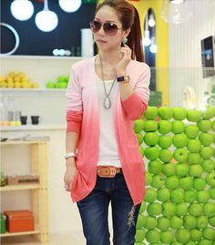 Of the 2014 women's cape coat thin long knit female cardigan sweater long-sleeved contracted joker color gradient
