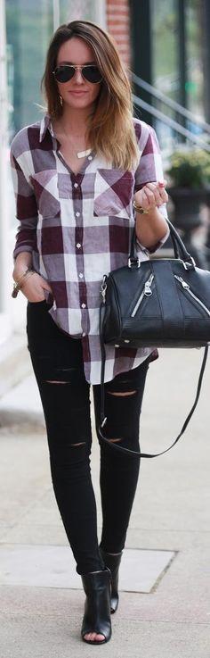 Fashionably Kay Plaid Button Down Fall Inspo