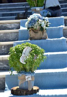 Γλάστρες με Βασιλικός και πουγκιά τσόχινα με ορτανσίες Baptism Ideas, Kindergarten, Planter Pots, Diy Crafts, Invitations, Babies, Photography, Wedding, Decor