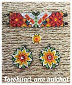 Beautiful game of necklace and Huichol earrings hand embroidered by the wonderful hands of our artisans Wixarica of the state of Nayarit! Earrings, bracelet and ring set Seed Bead Bracelets, Seed Beads, Huichol Art, Bead Crafts, Beading Patterns, Beaded Jewelry, Artisan, Etsy, Beadwork