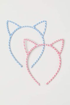 Fabric-covered hairbands with cat ears at top. Cat Ears Headband, H&m Gifts, Pink Stripes, Fabric Covered, Fashion Company, Hair Band, World Of Fashion, Headbands, Light Blue