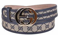 New Gucci Women's 114876 Beige Blue Canvas Leather GG Guccissima Belt 30 75…