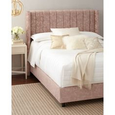 Lotus Channel-Tufted California King Bed (44 615 UAH) ❤ liked on Polyvore featuring home, furniture, beds, pink, wingback bed, pink furniture, handcrafted furniture, wing back bed and pink bed