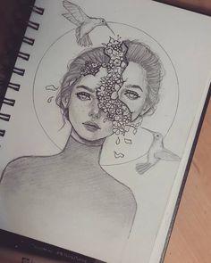 Creative inspiration sketch art sketches, art ve drawings Pencil Art Drawings, Art Drawings Sketches, Cute Drawings, Art Sketches, Creative Sketches, Hard Drawings, Amazing Drawings, Tattoo Sketches, Girl Pencil Drawing