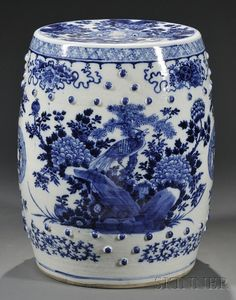 Boxwood Terrace: Chinese Blue and White Garden Seat