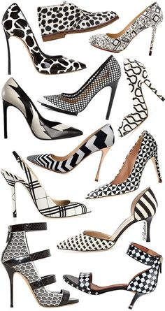 Spring 2014 Trends Black White Graphic Print Heels Top to Bottom Chiara Ferragni Charlotte Olympia Casadei LAMB Vivienne Westwood Saint Laurent Nicholas Kirkwood JCrew O. Hot Shoes, Crazy Shoes, Me Too Shoes, Charlotte Olympia, Vivienne Westwood, Zapatos Shoes, Shoes Heels, Designer High Heels, Manolo Blahnik Heels