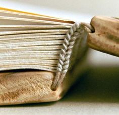 cool headband detail on a coptic stitch book
