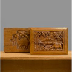 1940s Carved Wooden Box Set / 40s Ethnic Wood by recyclinghistory, $45.00