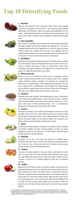 top 10 detoxifying foods.    www.onedoterracommunity.com   https://www.facebook.com/#!/OneDoterraCommunity