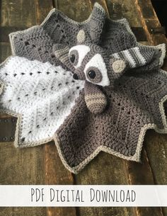Twig the Raccoon Lovey crochet pattern standard version Crochet Lovey Free Pattern, Crochet Blanket Patterns, Baby Blanket Crochet, Baby Patterns, Free Crochet, Knit Crochet, Booties Crochet, Free Knitting, Dress Patterns